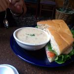 Very mediocre clam chowder and chicken melt