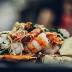 shrimps with chilli and ginger on grill bread