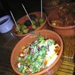 'small plates;- halloumi, olives, potato bites