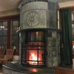 Stunning soapstone fireplace in the cozy lobby
