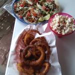 Tacos and onion rings