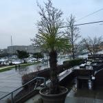 View across their terrace to waterway and marina.