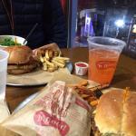 Vegan burgers, sweet potato fries, handcut Maine fries and lemonade!