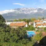 Blick auf den Garten, den Pool und die Mendelgruppe