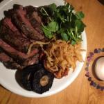 Chateaubriand with crispy onions, portobello mushrooms and slow roasted tomatoes