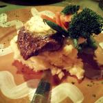 Filet Mignon with garlic mashed potatoes and vegetables.