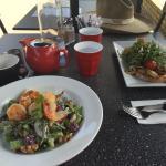 Prawn Waldorf salad followed by Lemon meringue pie and fresh scones. Yumi food.