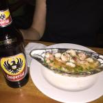 shrimp ceviche - ice cold beer