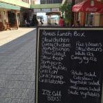 The menu at Anna's Lunch Box. Entrance to the water-taxi terminal is in the background.