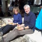Eating real Spanish food cooked over an open fire, in the sun!