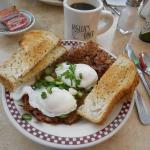 Corned Beef Hash w/poached eggs & hot coffee