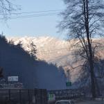 The Mountain Peaks in the Rising Sun