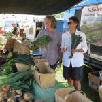 Sharon and Tina May at McBride's Organic Farm produce.