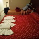 habitacion impecable me gusto el decorado de las toallas formando un moño,y sus cuadros.