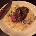 Gorgonzola Cream Topped With Grilled Filet Mignon
