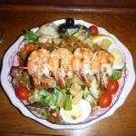 Absolutely fabulous double house salad with prawns, special order