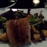 Salmon, kale salad, roasted potatoes