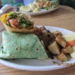 Hummus and salad wrap with potatoes