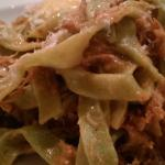 Tagliatelle with duck ragu paired with Pillsbury's shiraz 'guns and kisses'