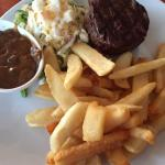 fillet steak with chips and salad