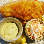 Crispy fish n chips w slaw!