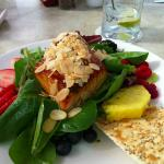 Grilled Salmon over salad with fruit