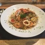 Caprese with parma ham e mozzarella dop, seafood spaghetti