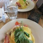 Eggs Benedict with bacon for two.