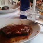 My steak, drenched in Steak Sauce - I should not have done that