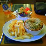 Home made Steak Pie with Chips & side salad