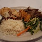 Greek sampler platter- Chicken kabob, moussaka, gyro meat, veges and rice.