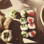 sushi sampler and garden salad