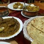 Main course. Kulcha, Chicken Madras and dhal makany.