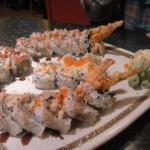 Combo plate of Shrimp Tempura, The Clayton Roll and The Yummy Roll