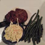 filet mignon, cole slaw, green beans