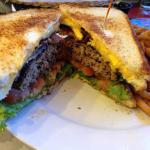 Boydton bruiser...bacon cheesburger between two grilled cheese sandwiches...yum!