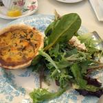 mushroom & goat cheese quiche with delightful salad,