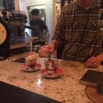 Affogato desserts! Scoop of vanilla ice cream with a shot of espresso