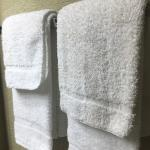 Dirty towels looks like they only folded them back up again instead of changing them with clean