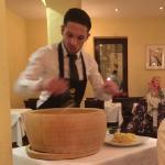 Preparing alfredo dish