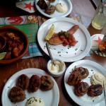 salmon, chicken, beef