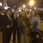 In the street near midnight - very cold - thousands of people! Lots of fun!