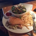 chicken torta with chopped salad and fries