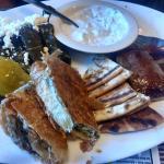 Three cheers for Gyro meat, pita bread lightly charred, spanikopita and dolmas!!!