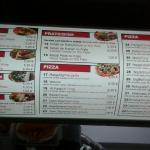 Doner kebab menu