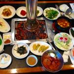Galbi on grill and side dishes-amazing!!