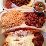 enchilada plate with a taco.