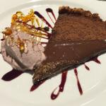 Dark Chocolate Tart with blue berry, red wine and caramel