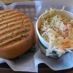Smoked salmon sandwich + slaw ftw