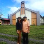 infront of the newly renovated Church of the St. James The Greater Parish